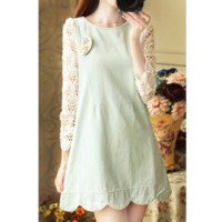 Lace Sleeves One Piece Dress A016