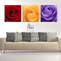 Large Wall Art 3 Different Colored Roses Canvas Print | Rose Art Canvas Printings