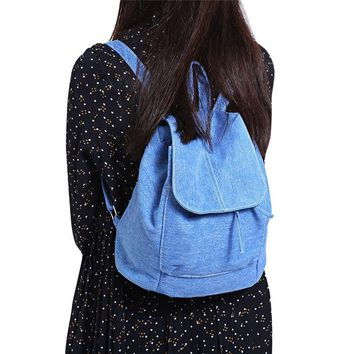 Casual Style Canvas Backpack Drawstring Bag Soft Denim Women Backpack Drawstring School Bags Travel Bag Small Backpack