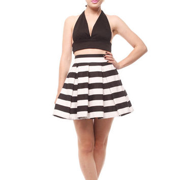 9d2472010 Short length stripes pleated skirt with pockets, custom made .