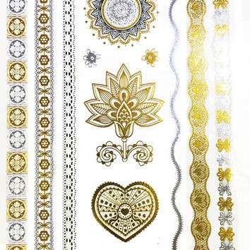 Vintage Metallic Temporary Flash Tattoo Gold Silver Festival Beach Holiday Gift Present Flash Tattoo Birthday Anniversary