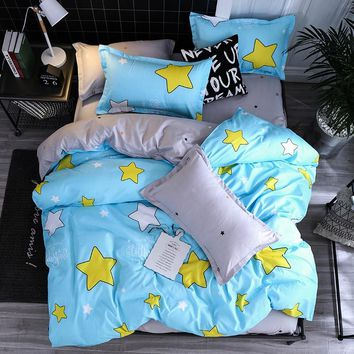 Home Bedding Sets yellow White blue Star Twin full queen king size Duvet Cover bed Sheet Pillowcase Bed Linen cartoon bedclothes