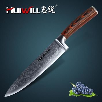 "Huiwill brand VG10 Damascus carbon steel 8"" kitchen chef knife Cleaver knife with Pakka Handle Super Quality"