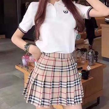 """""""Burberry""""Woman's Leisure  Fashion Letter Printing Spell Color  Short Sleeve  Lattice Short Skirt Two-Piece Set Casual Wear"""