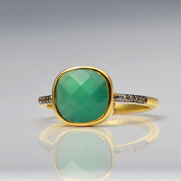 Green Onyx ring - Stacking ring - cushion ring - bezel set ring - White Topaz Pave ring - May Birthstone ring - mothers Day gift