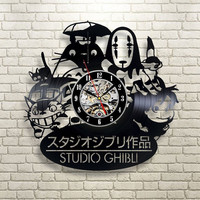 2016 New CD Vinyl Record Wall Clock Modern Spirited Away Studio Ghibli Anime Wall Watch Home Decor Classic Clock Relogio Parede