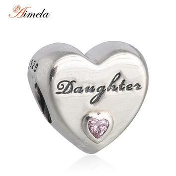 AIMELA Solid 925 Sterling Silver Alphabet Letters Daughter Love Heart Charm Beads For