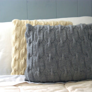 Chain Link Cable Knit Wool Pillow Sham in Gray by PreciousKnits