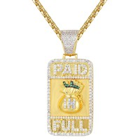 Custom Paid in Full Canary Money Bag Men's Dogtag Pendant