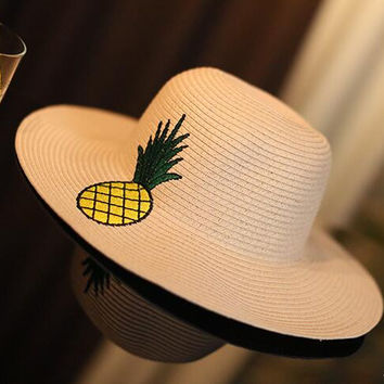Braid Pineapple Patches Sun Hat Women Beach Holiday Cap