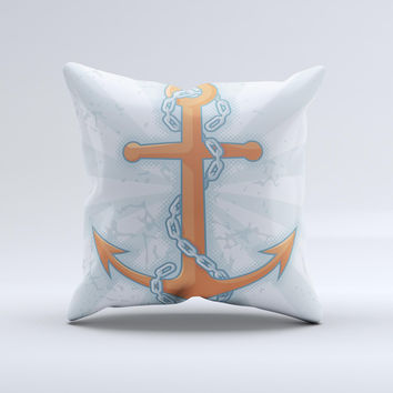 Vinatge Blue Striped & Chained Anchor ink-Fuzed Decorative Throw Pillow
