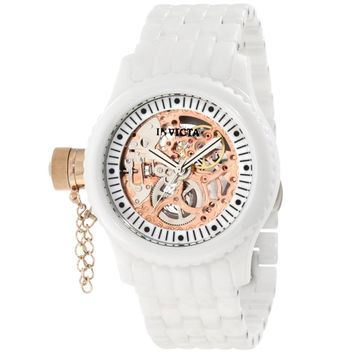 Invicta 1898 Women's Russian Diver Lefty Rose Gold Tone Skeleton Dial Mechanical White Ceramic Watch