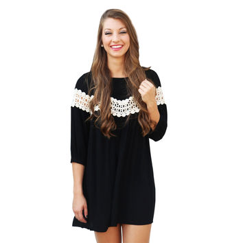 Black Cutout Lace Sleeve Dress