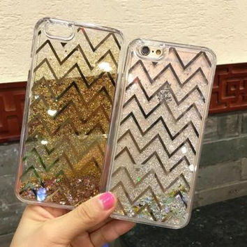 Flash powder Wavy line phone case for iphone 7 7 plus 5 5s SE 6 6s 6plus 6s plus + Nice gift box! -LJ-005