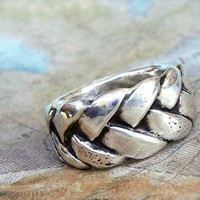 Summer Jewelry, Summer Braided Ring, Silver Braided Ring, Braid Ring, Braided Silver Ring Size 4 5 6 7 8 9 10 11 12 13 14 15 Silver Ring