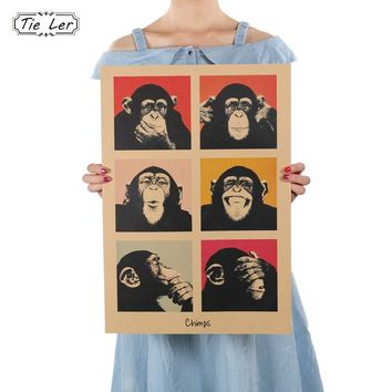 TIE LER Vintage Poster Gorilla Wall Stickers Kitchen Retro Kraft