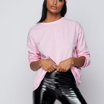 You're Basic Long Sleeved Crew Neck Oversized Top Pink