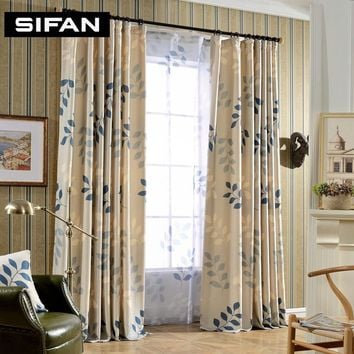 Leaf Printing Blackout Curtains for Living Room Window Curtains for the Bedroom Modern Sheer Curtains Blinds Custom Made