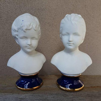 Capodimonte Childen Busts , Set Of Two , Bisque Figurines , Made in Italy