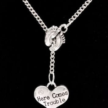 Baby Footprints Here Comes Trouble, Mother Gift Lariat Style Necklace