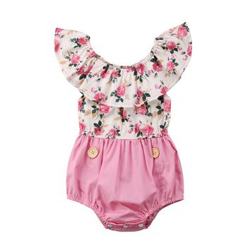 2018 Summer Newborn Infant Baby Girl Sleeveless Cape Color Floral Patchwork Princess Romper Jumpsuit Outfits Sunsuit Clothes
