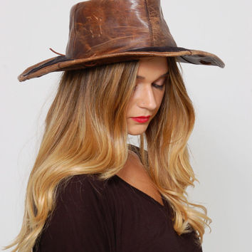 Vintage 70s LEATHER Boho Hat FLOPPY Hippie Hat Mocha Suede Wide Brim Hat DISTRESSED Leather Bohemian Hat