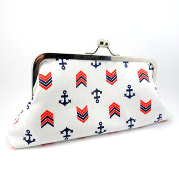 Anchor Framed Clutch Purse // Red and White  // Cute Party Clutch // Silver Frame with Ball Closure // Lined // Under 30