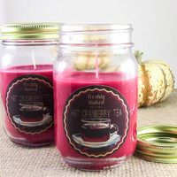 Hot Cranberry Tea Soy Candle (Cranberry & pumpkin spice scented, Vegan, Red, No Phthalates) Recycled Material. Holiday Gift Idea, Christmas