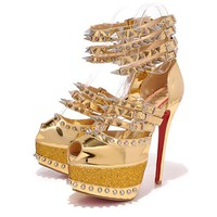 Christian Louboutin Fashion Edgy Sequin Rivets Red Sole Heels Shoes