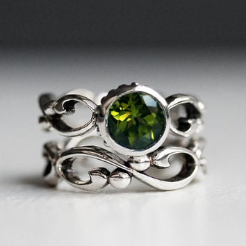 Peridot engagement ring set - bezel solitaire - recycled sterling silver - ethical engagement - cocktail filigree wedding band- Wrought ring