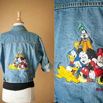 Vintage Disney Denim Jacket | 80s Jacket 90s Jacket Grunge Cropped Jean Jacket 90s Jacket Fall Fashion Mickey Mouse Disneyland Jean Jacket
