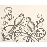 Elegant Love Birds Hand Painted Stretched Canvas Art