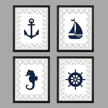 Nautical Prints, CUSTOMIZE YOUR COLORS, 8x10 Prints, set of 4, Navy Blue and Gray Nautical Nursery Decor Print Kids Art Baby Room Baby Boy