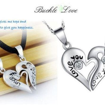 DCCKIX3 Pair 925 Sterling Silver Leather Necklace Couple Heart Pendant Chain 'Love You' (Color: Silver) = 1929763204