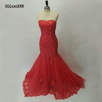 Amazing Mermaid Prom Dresses 2017 Coral Pink Sweetheart Appliques Beaded Off Shoulder Sweep Train Vestido De Festa Plus Size