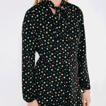 Floral Print Romper With Blouson Sleeves | Wet Seal