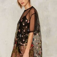 Jaded London Mother Nature Embroidered Mesh Dress