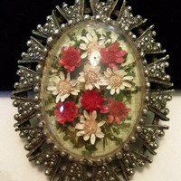 Vintage 1960s Brooch Pendant Red White Dried Flower Miniature Victorian Revival Silver Plate Cameo