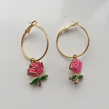 Hot Pink Rose Hoop Earrings