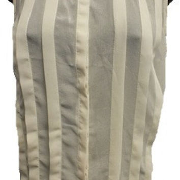 Sleeveless Sheer Pleated Top w/Back Strap Detail