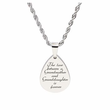 Teardrop Inspirational Tag Necklace - Love Between Grandma