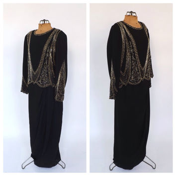 Size 14 Large Miss Elliette Vintage 80s does 1930s Black Gold Beaded Long Cocktail Dress Maxi Prom 1940s Gown 1920s Art Deco Great Gatsby
