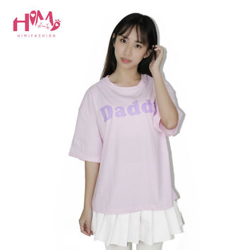 Harajuku Yes Daddy T-shirt Cute Fashion For Young Girl Loose Cotton Baby Pink Short Sleeves T-shirt Female Tops