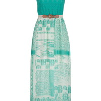 Lace Top Crochet Belt Maxi Dress - Mint Creme Combo