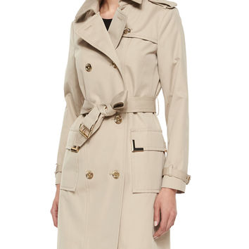 Women's Beverly Short Sateen Trench Coat - MICHAEL Michael Kors - Khaki