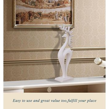 Resin sculpture white deer statue for TV desk decor