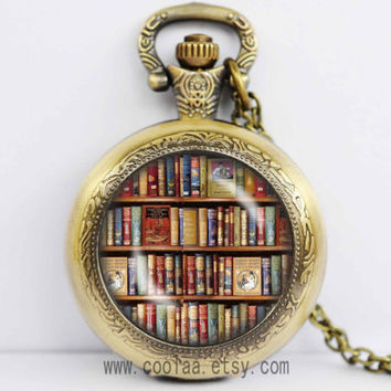 Bookshelf Pocket Watch Locket Necklace,Book library Books Lovers author vintage glass stone Pocket Watch Locket Necklace