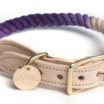 Rope & Leather Collar Purple Ombre by Found My Animal at Baysidebuddy.com