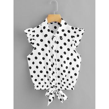 Knot Front Polka Dot Top White