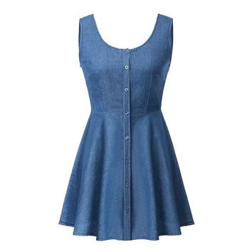 Round-neck Sleeveless Denim One Piece Dress [5013406020]